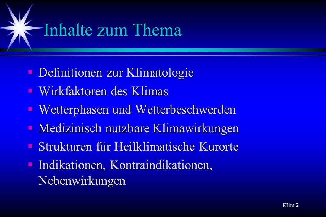Inhalte zum Thema Definitionen zur Klimatologie
