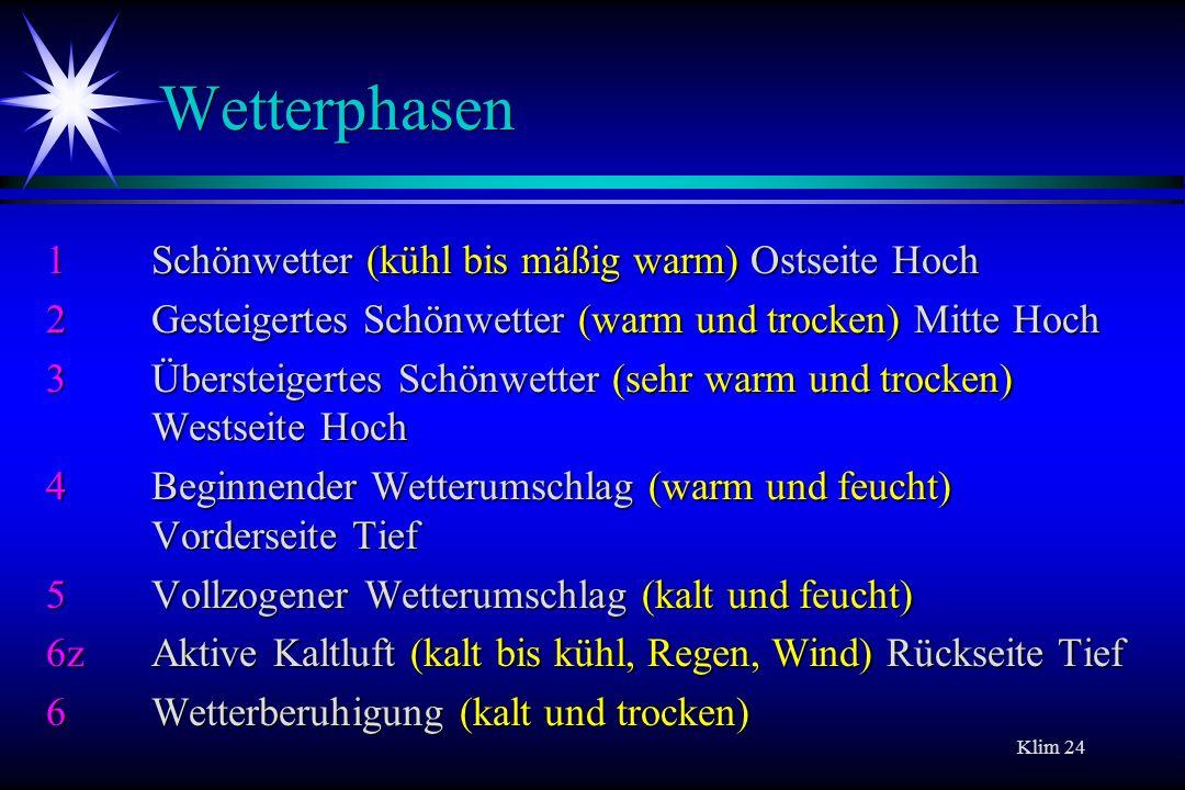 Wetterphasen 1 Schönwetter (kühl bis mäßig warm) Ostseite Hoch