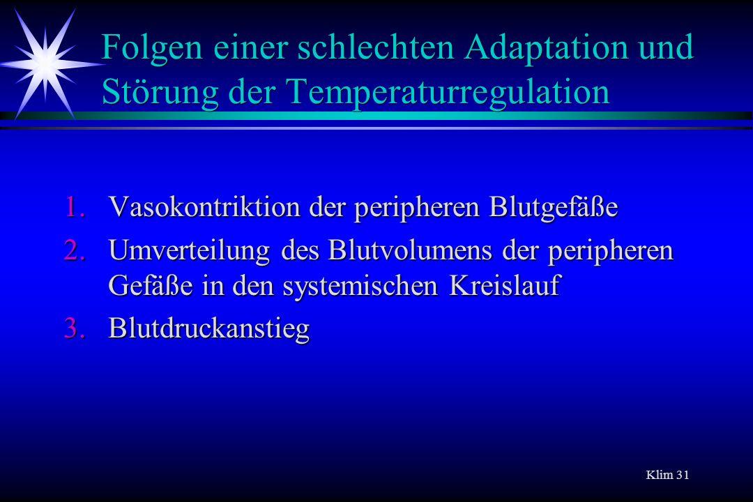 Folgen einer schlechten Adaptation und Störung der Temperaturregulation