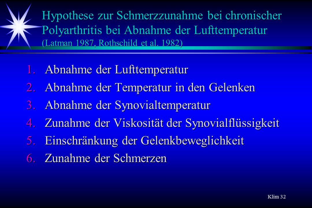 Hypothese zur Schmerzzunahme bei chronischer Polyarthritis bei Abnahme der Lufttemperatur (Latman 1987, Rothschild et al. 1982)