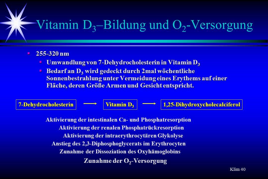 Vitamin D3–Bildung und O2-Versorgung