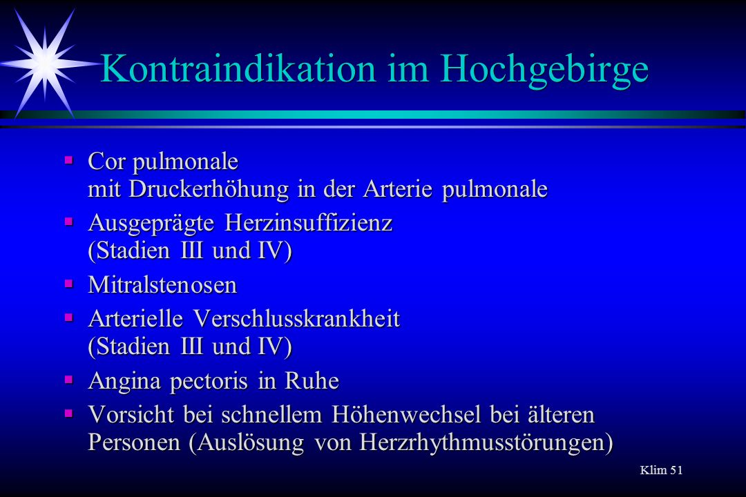 Kontraindikation im Hochgebirge