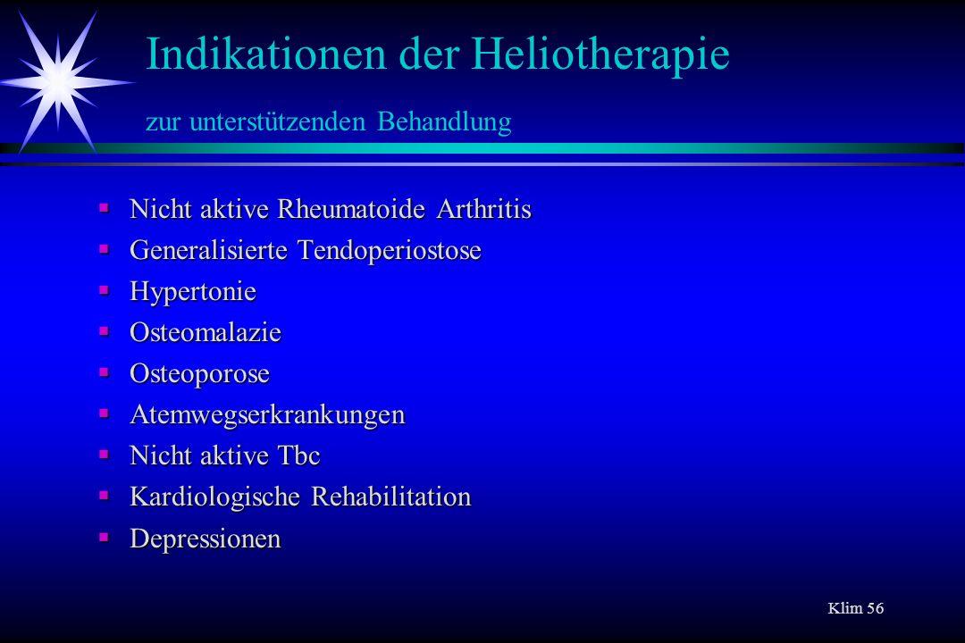 Indikationen der Heliotherapie zur unterstützenden Behandlung