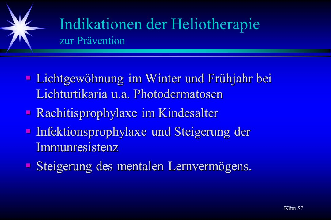 Indikationen der Heliotherapie zur Prävention