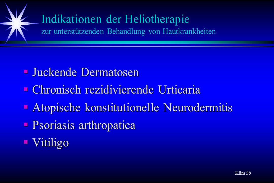 Indikationen der Heliotherapie zur unterstützenden Behandlung von Hautkrankheiten
