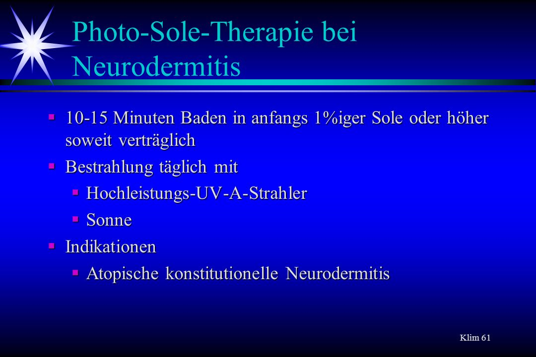 Photo-Sole-Therapie bei Neurodermitis