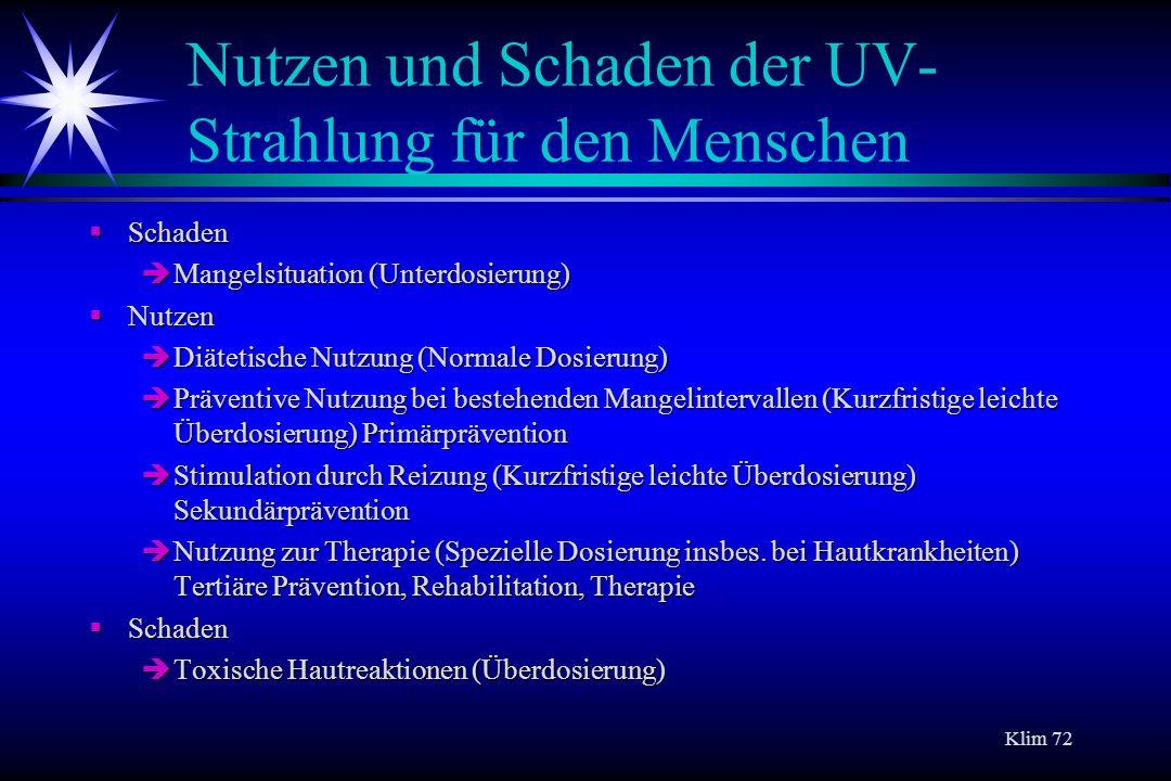 Nutzen und Schaden der UV-Strahlung für den Menschen