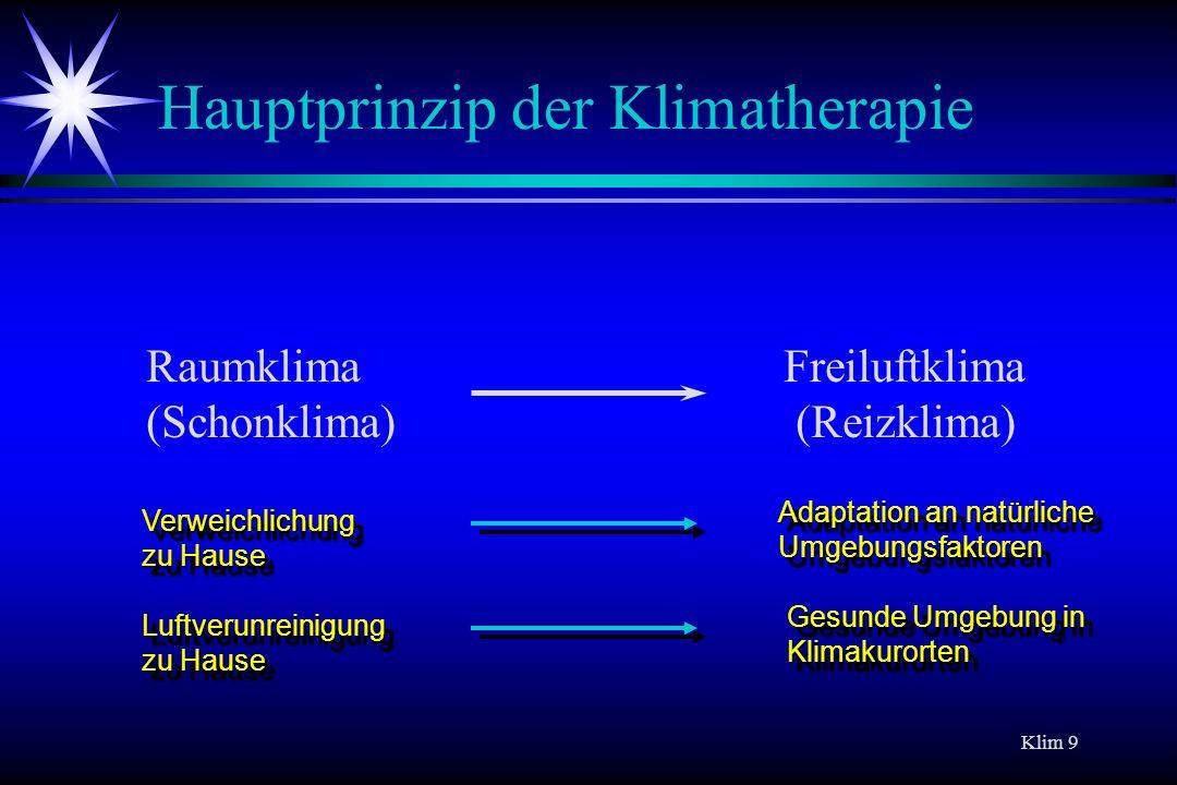 Hauptprinzip der Klimatherapie