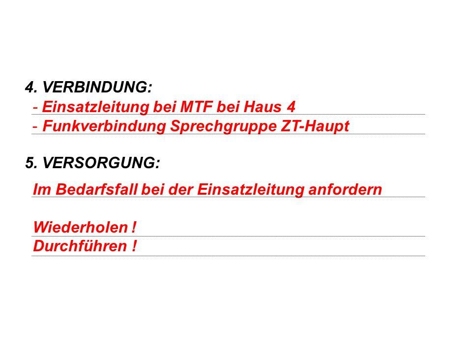 4. VERBINDUNG: 5. VERSORGUNG: - Einsatzleitung bei MTF bei Haus 4. Funkverbindung Sprechgruppe ZT-Haupt.