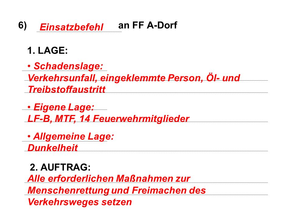 6) an FF A-Dorf Einsatzbefehl. 1. LAGE: 2. AUFTRAG: