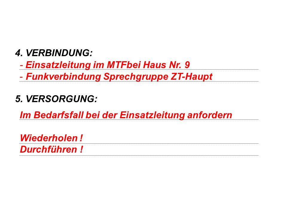 4. VERBINDUNG: 5. VERSORGUNG: - Einsatzleitung im MTFbei Haus Nr. 9. Funkverbindung Sprechgruppe ZT-Haupt.