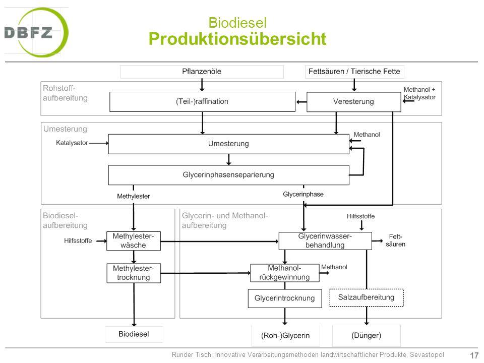 Biodiesel Produktionsübersicht