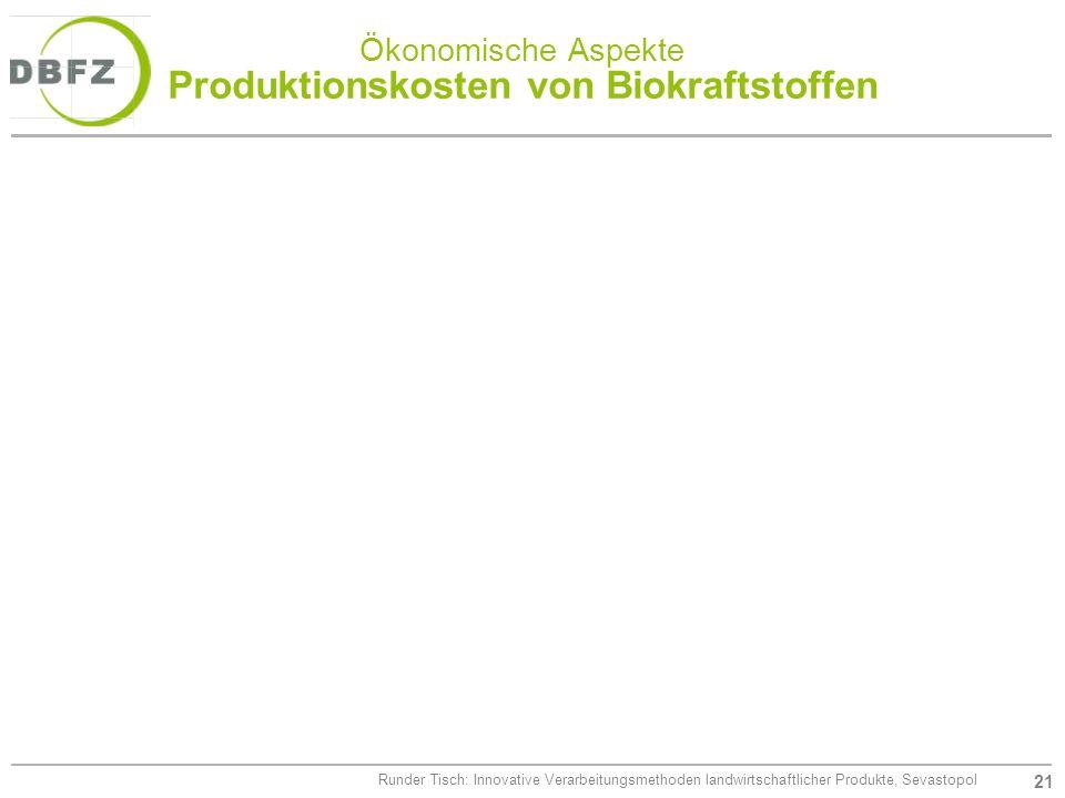 Ökonomische Aspekte Produktionskosten von Biokraftstoffen