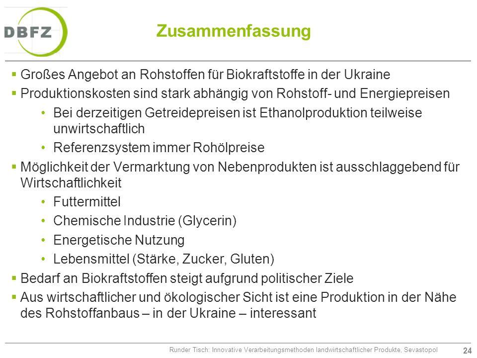 Zusammenfassung Großes Angebot an Rohstoffen für Biokraftstoffe in der Ukraine.