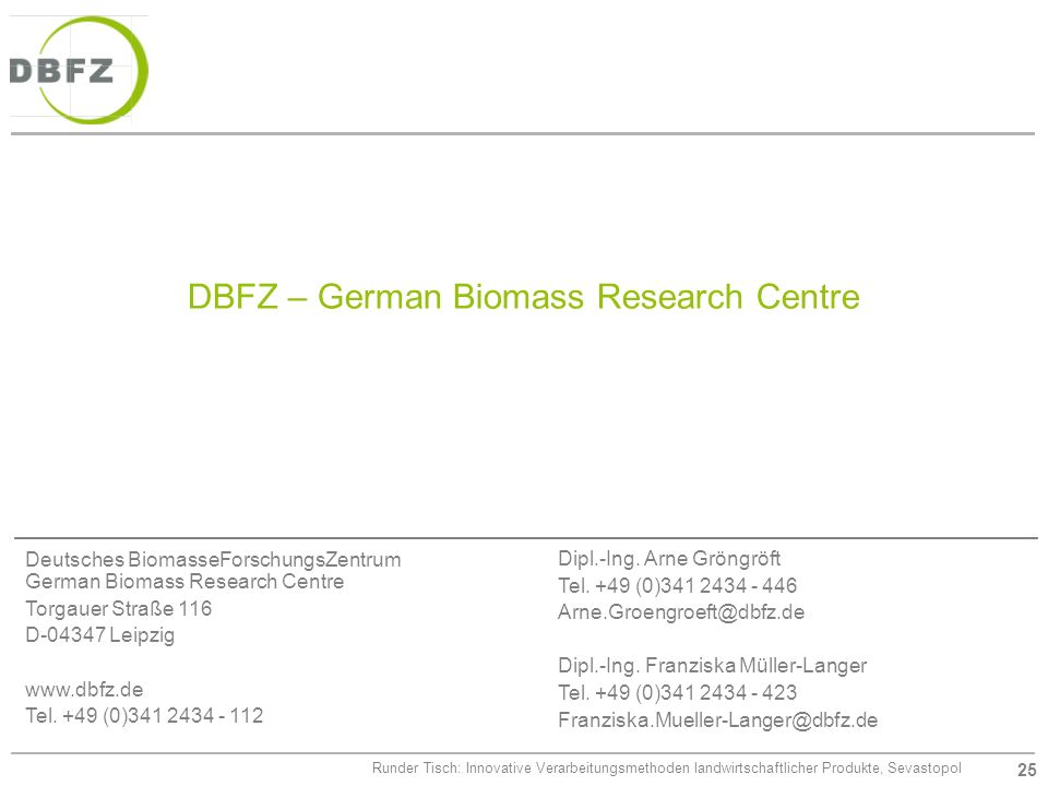DBFZ – German Biomass Research Centre