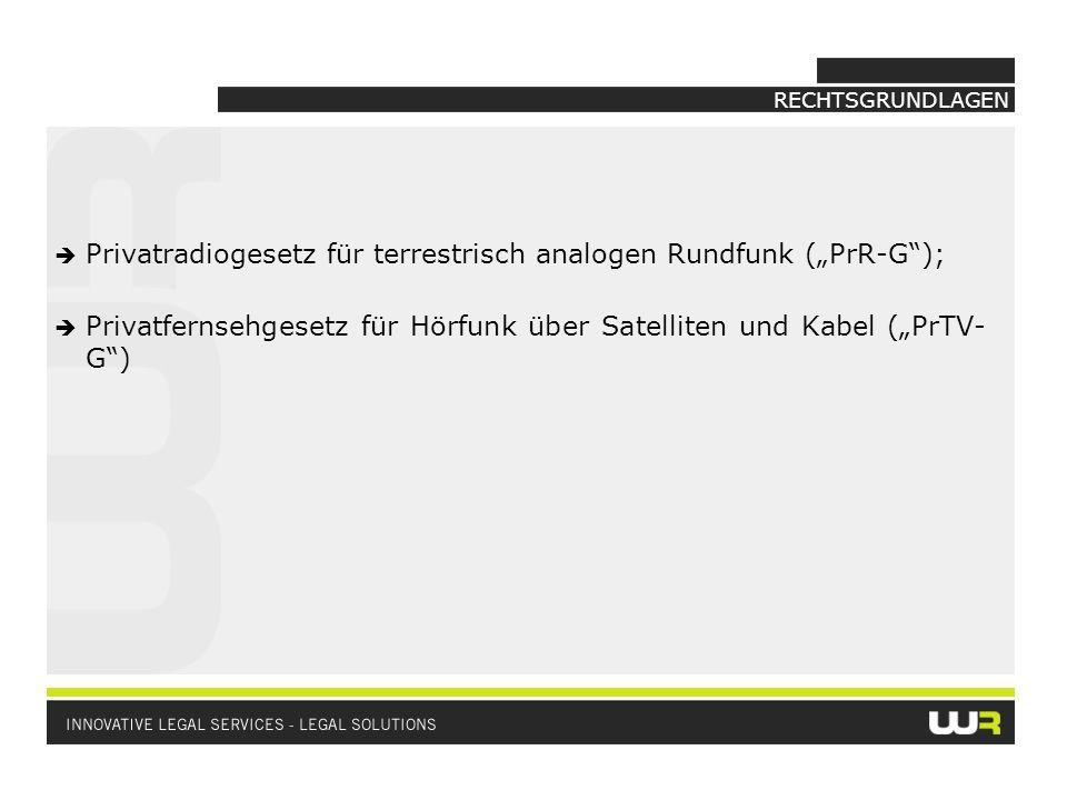 """Privatradiogesetz für terrestrisch analogen Rundfunk (""""PrR-G );"""