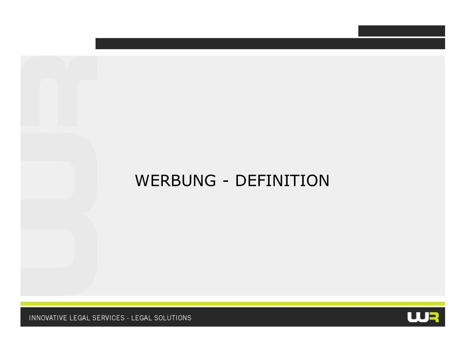 WERBUNG - DEFINITION
