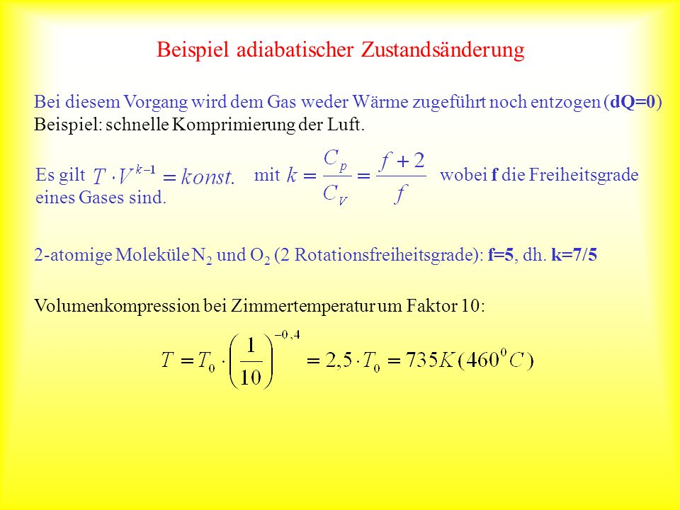 Beispiel adiabatischer Zustandsänderung
