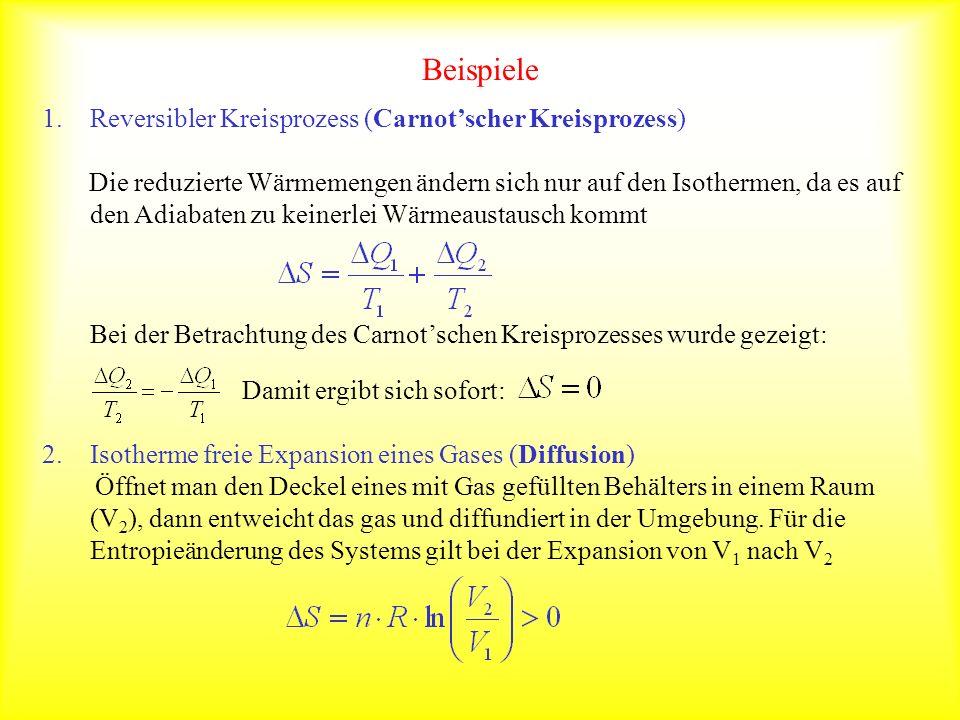 Beispiele Reversibler Kreisprozess (Carnot'scher Kreisprozess)