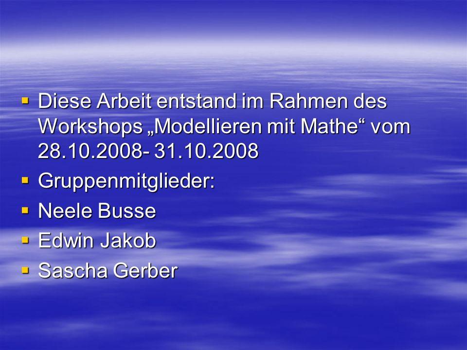 """Diese Arbeit entstand im Rahmen des Workshops """"Modellieren mit Mathe vom 28.10.2008- 31.10.2008"""