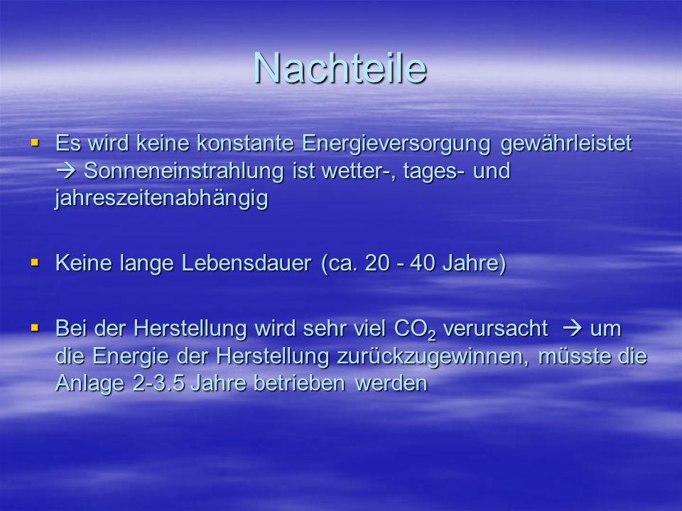 NachteileEs wird keine konstante Energieversorgung gewährleistet  Sonneneinstrahlung ist wetter-, tages- und jahreszeitenabhängig.