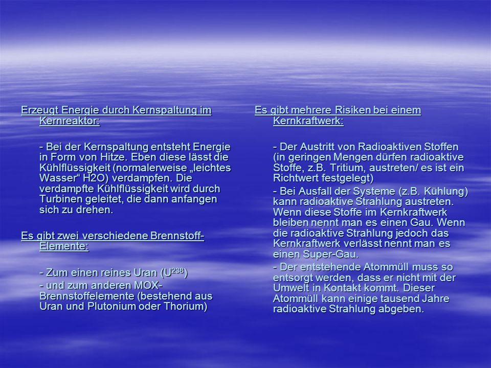 Erzeugt Energie durch Kernspaltung im Kernreaktor:
