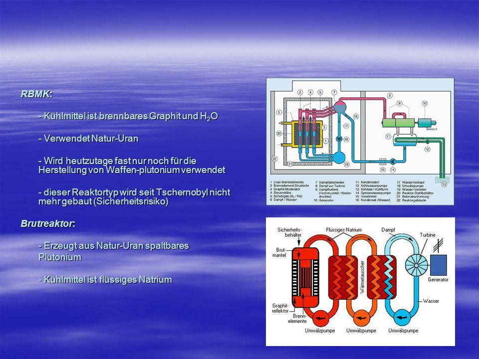RBMK: - Kühlmittel ist brennbares Graphit und H2O. - Verwendet Natur-Uran.