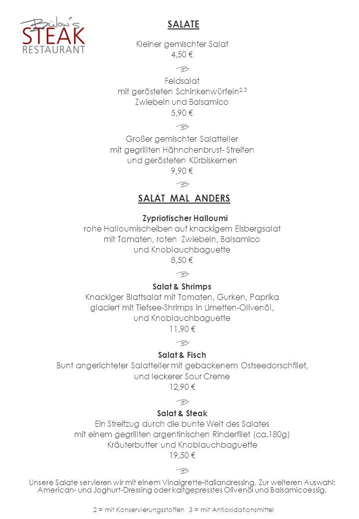 SALATE SALAT MAL ANDERS Kleiner gemischter Salat 4,50 € Feldsalat
