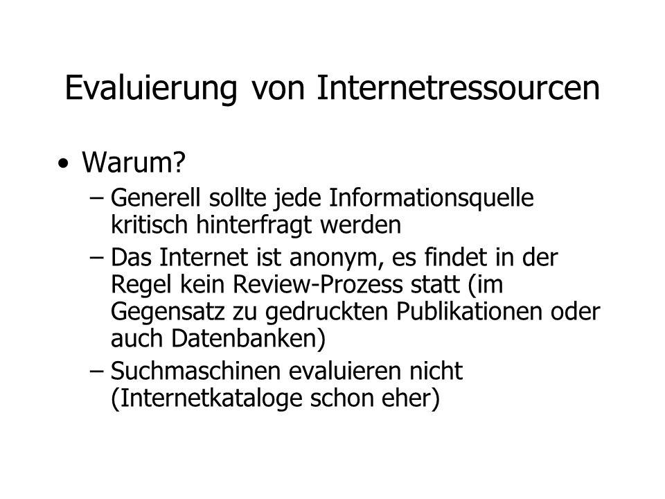 Evaluierung von Internetressourcen