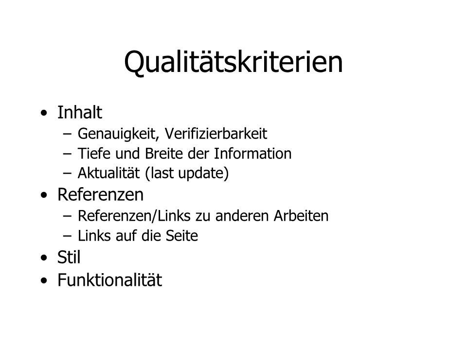 Qualitätskriterien Inhalt Referenzen Stil Funktionalität