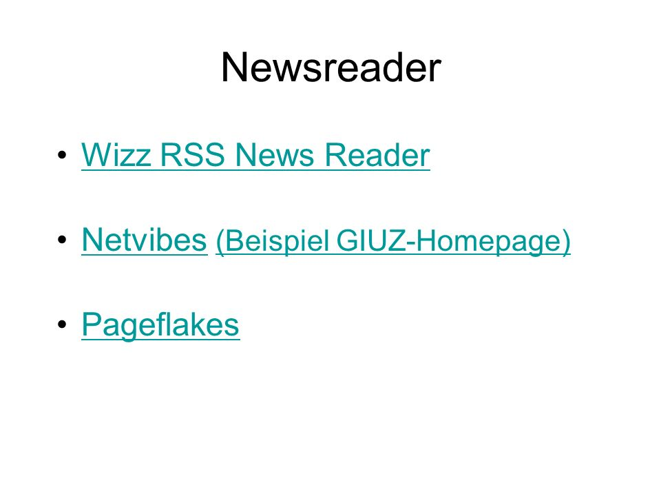 Newsreader Wizz RSS News Reader Netvibes (Beispiel GIUZ-Homepage)