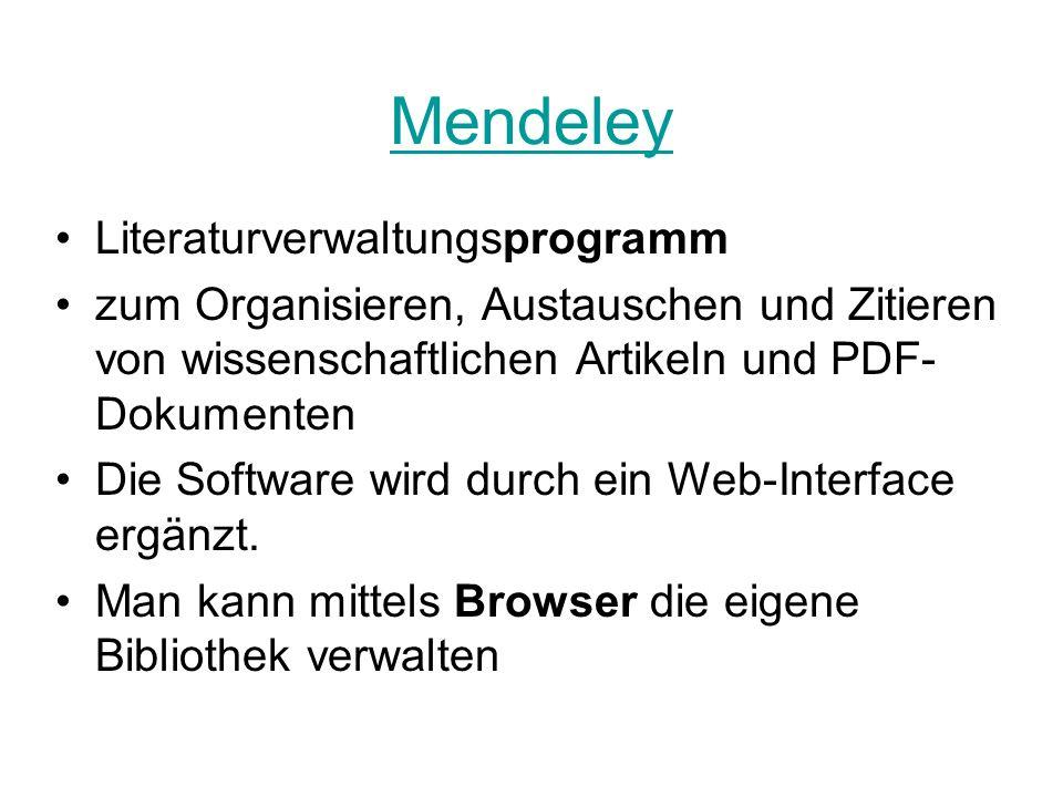 Mendeley Literaturverwaltungsprogramm