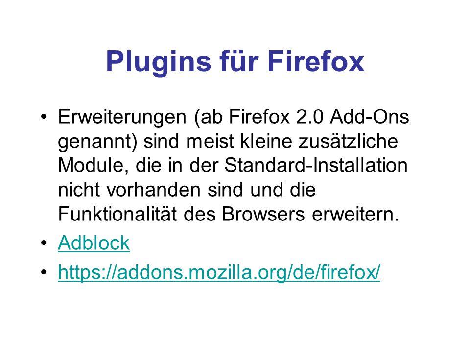 Plugins für Firefox