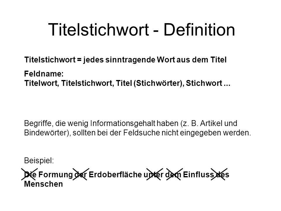 Titelstichwort - Definition