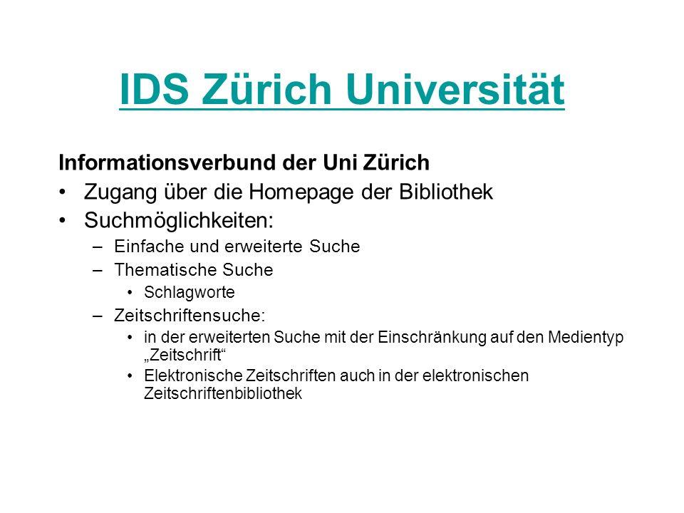 IDS Zürich Universität