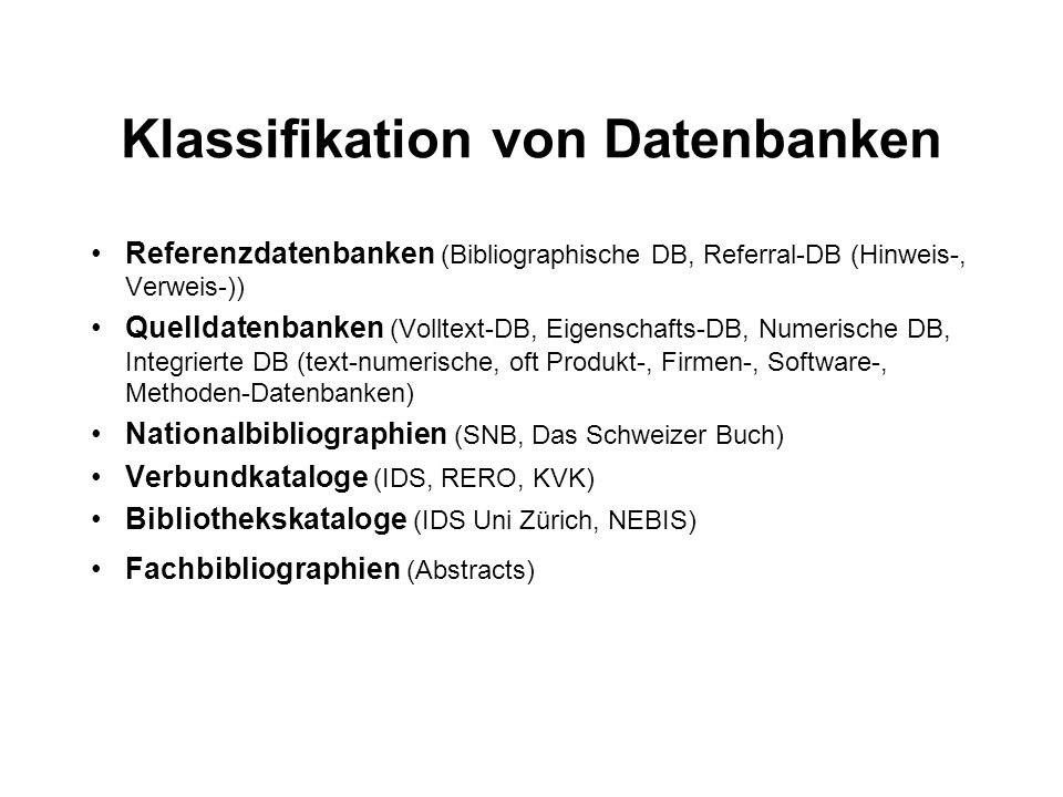 Klassifikation von Datenbanken