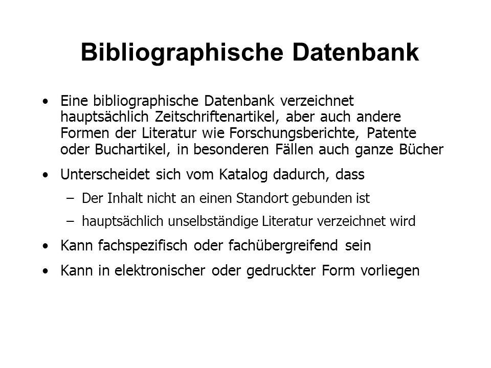 Bibliographische Datenbank