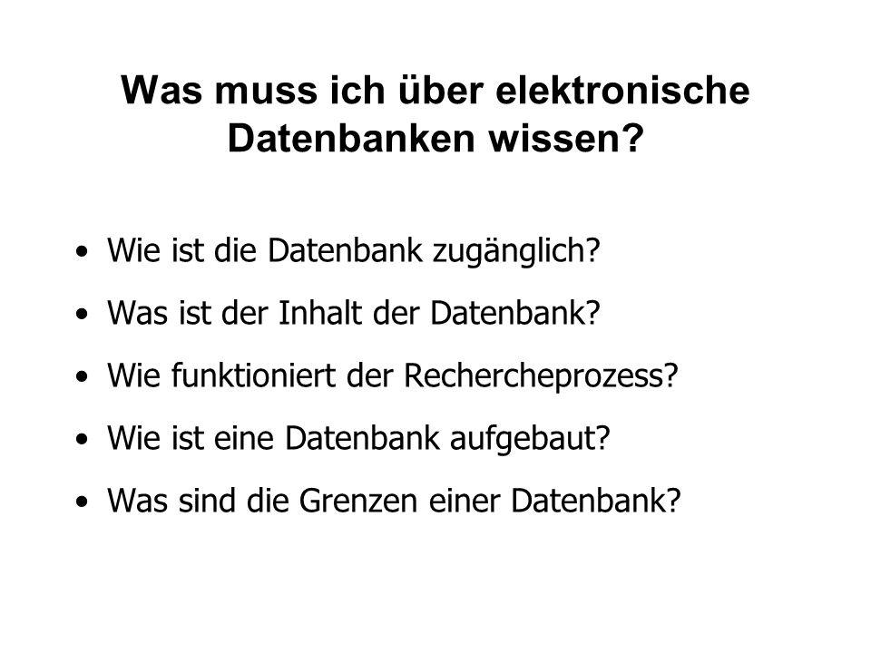 Was muss ich über elektronische Datenbanken wissen