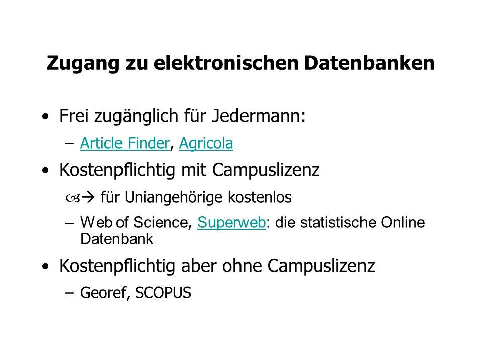 Zugang zu elektronischen Datenbanken
