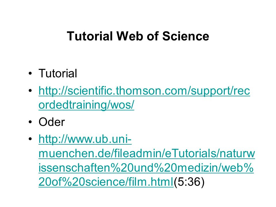 Tutorial Web of Science