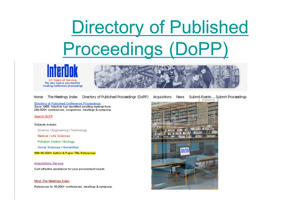 Directory of Published Proceedings (DoPP)
