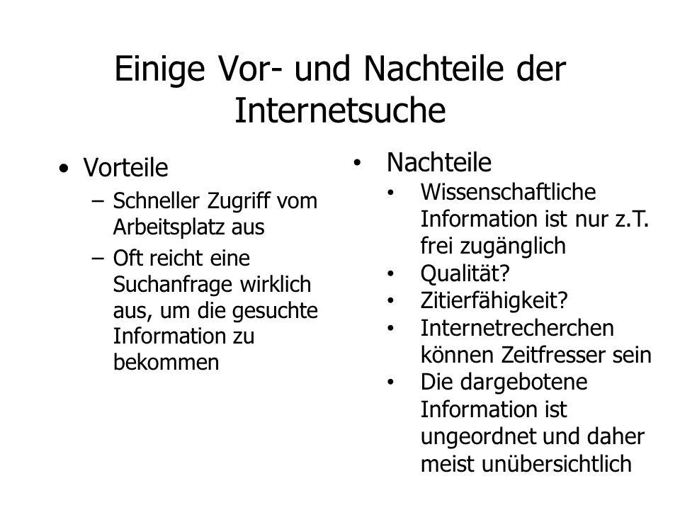 Einige Vor- und Nachteile der Internetsuche