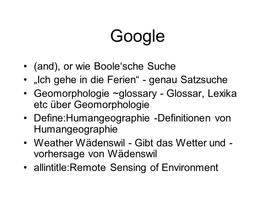 Google (and), or wie Boole'sche Suche
