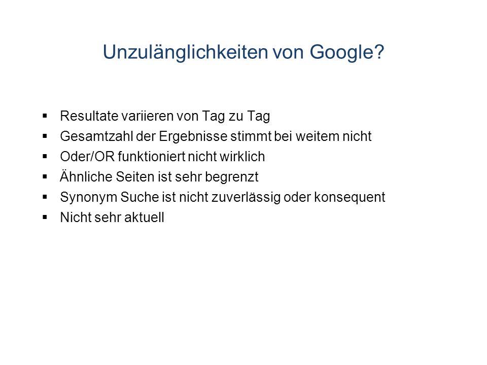 Unzulänglichkeiten von Google