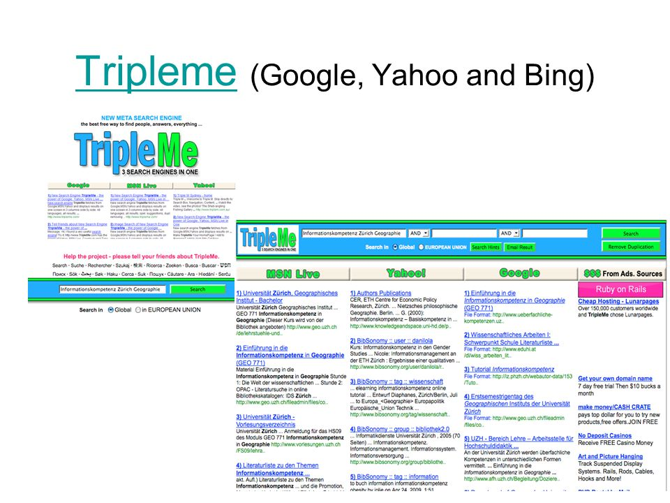 Tripleme (Google, Yahoo and Bing)