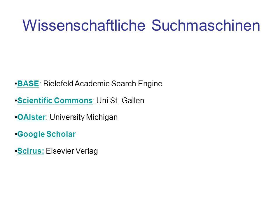 Wissenschaftliche Suchmaschinen