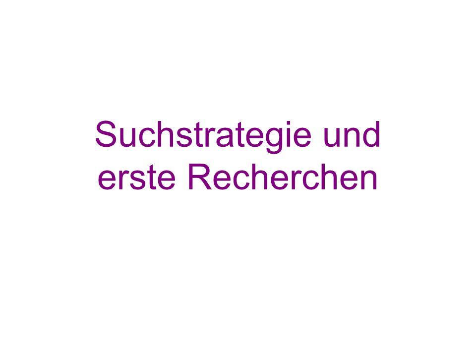 Suchstrategie und erste Recherchen
