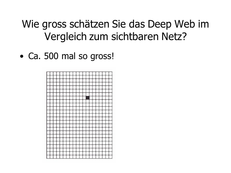 Wie gross schätzen Sie das Deep Web im Vergleich zum sichtbaren Netz