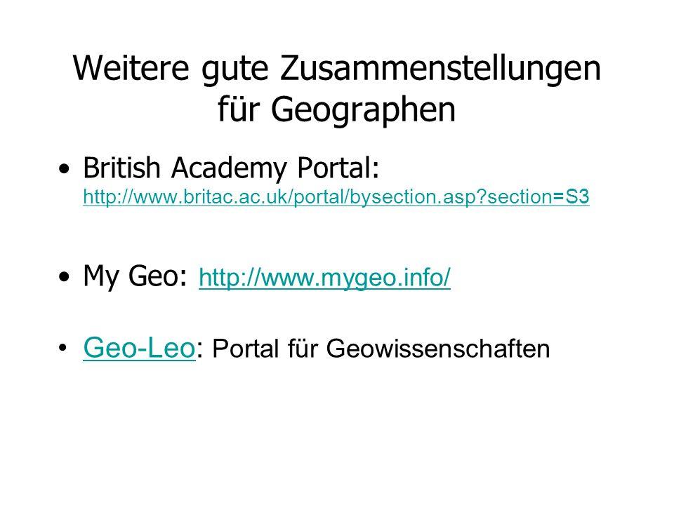 Weitere gute Zusammenstellungen für Geographen