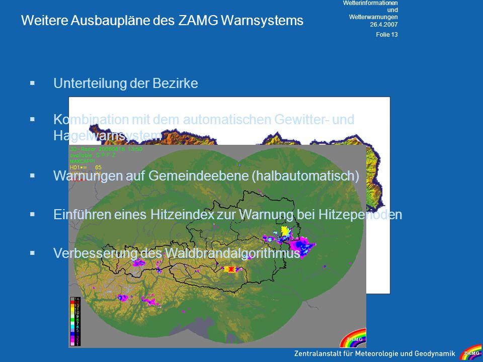 Weitere Ausbaupläne des ZAMG Warnsystems